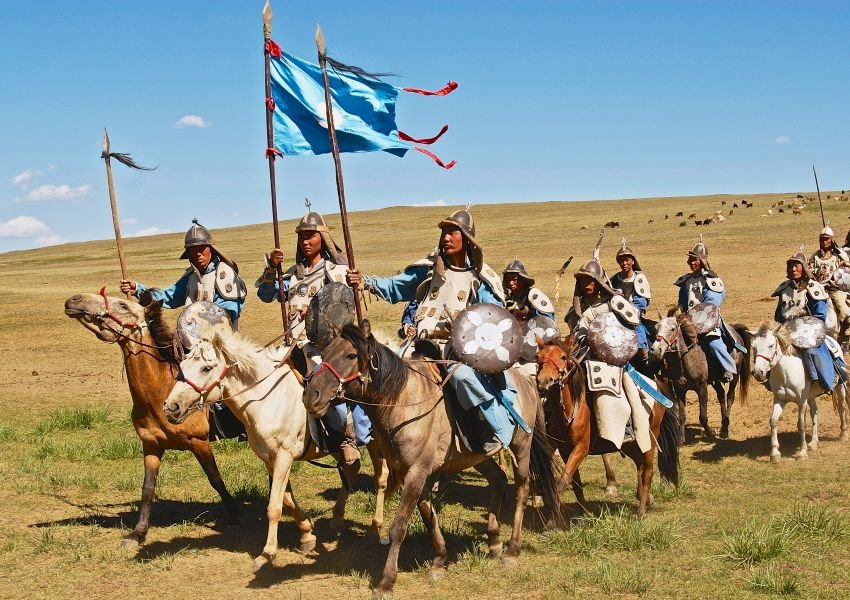 Mongolian horse riders take part in the traditional historical show of Genghis Khan era in Ulaanbaatar, Mongolia