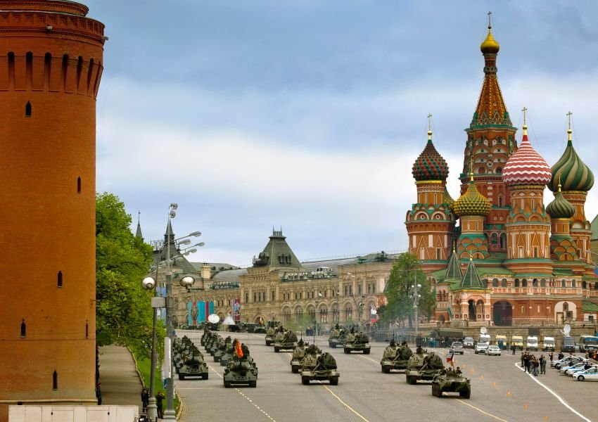 Army tanks on a street in Russia