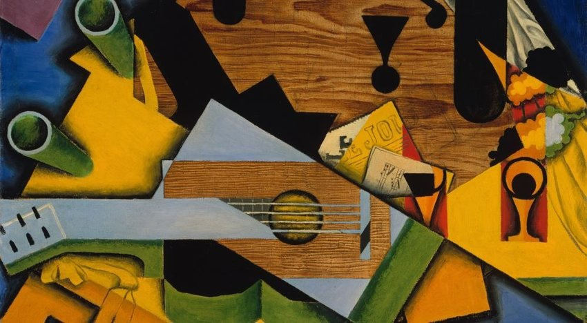 Photo of an abstract cubist style painting by Juan Gris
