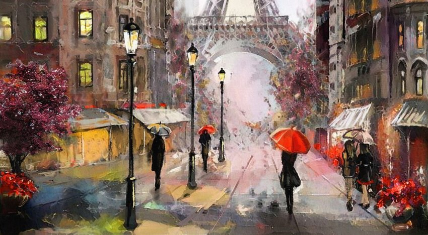 Photo a painting of people walking through Paris with umbrellas