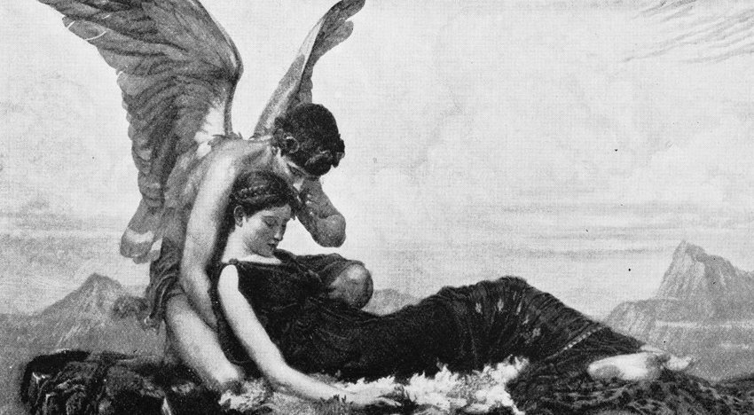 Black and white image of the angel-like Greek god Morpheus embracing a woman