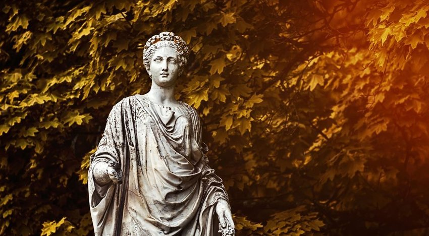 Image of an old statue of the goddess Demeter