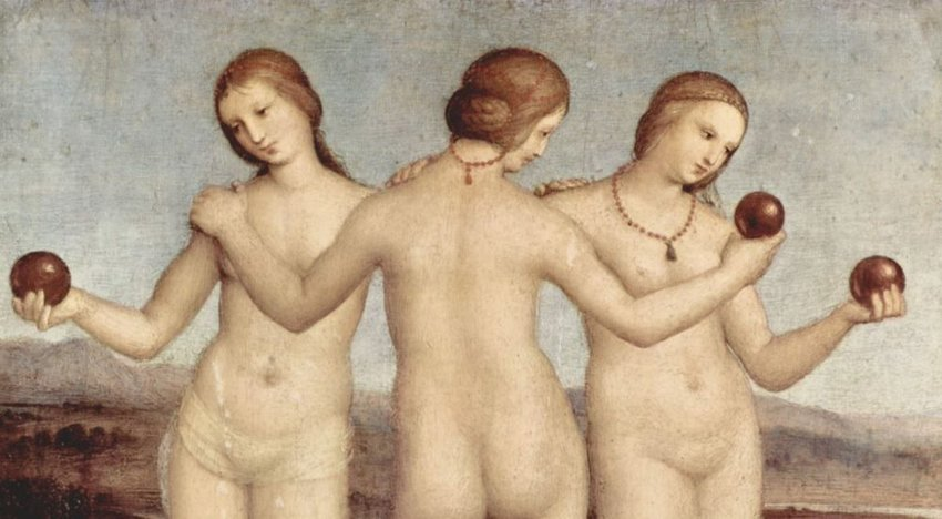 Photo of an old painting of three women holding apples