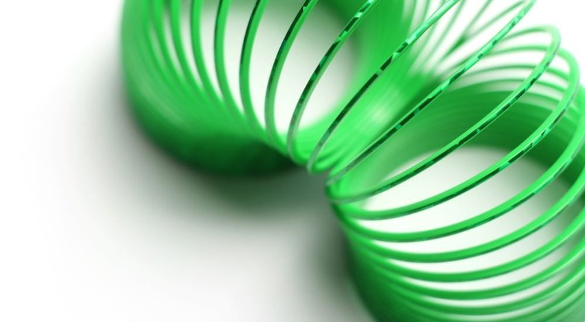 Photo of a green Slinky toy