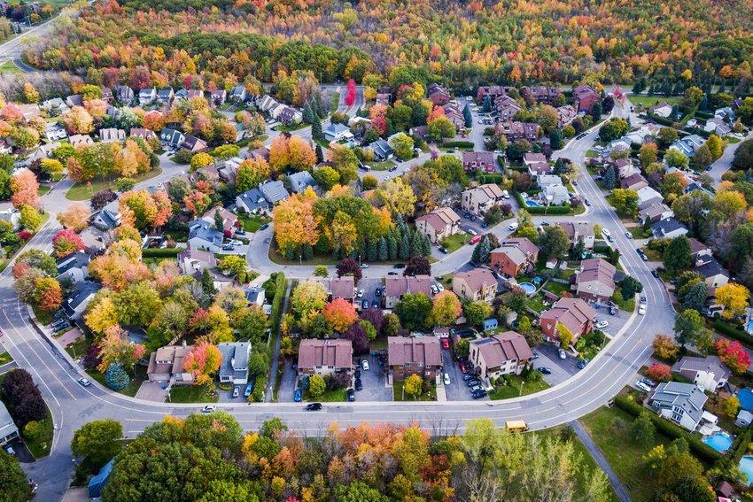 Aerial photo of a suburban neighborhood