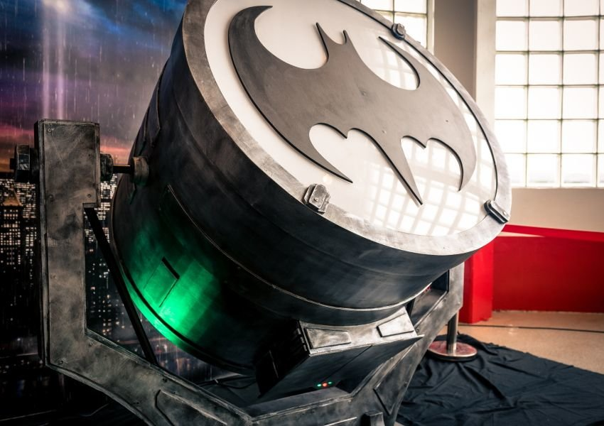 A movie prop with the Batman logo