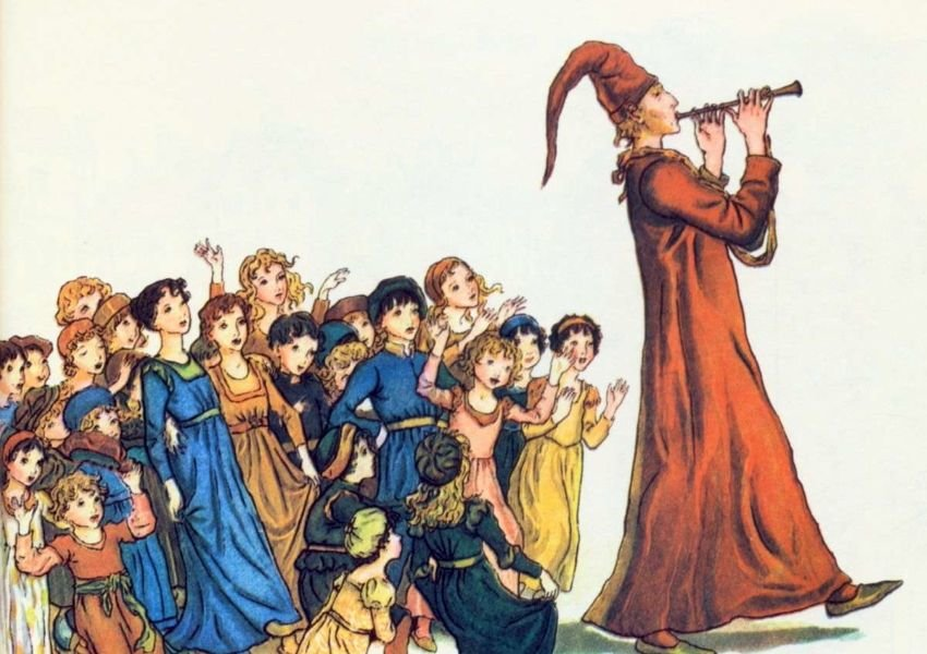 Photo of a painting of the Pied Piper playing his pipe for children