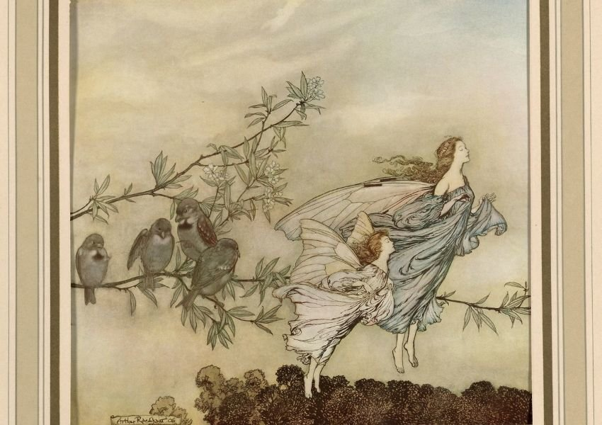 Photo of a painting of two fairies and four birds on a tree branch