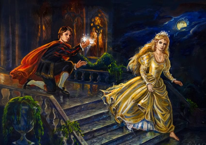 Photo of a painting of Cinderella running away from the prince without her glass slipper