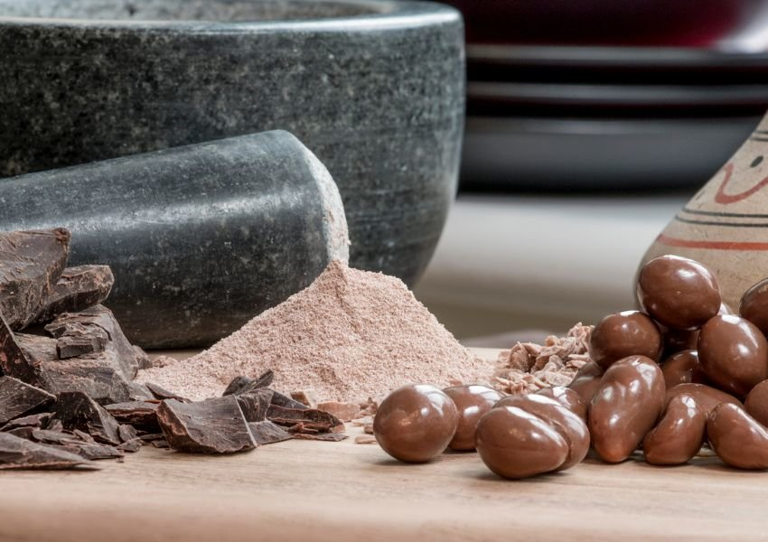 Chocolate in various forms: ground up, bars, and chocolate covered fruit