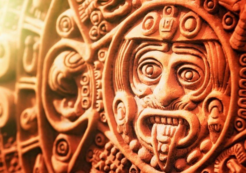 Clay artwork depicting an Aztec god