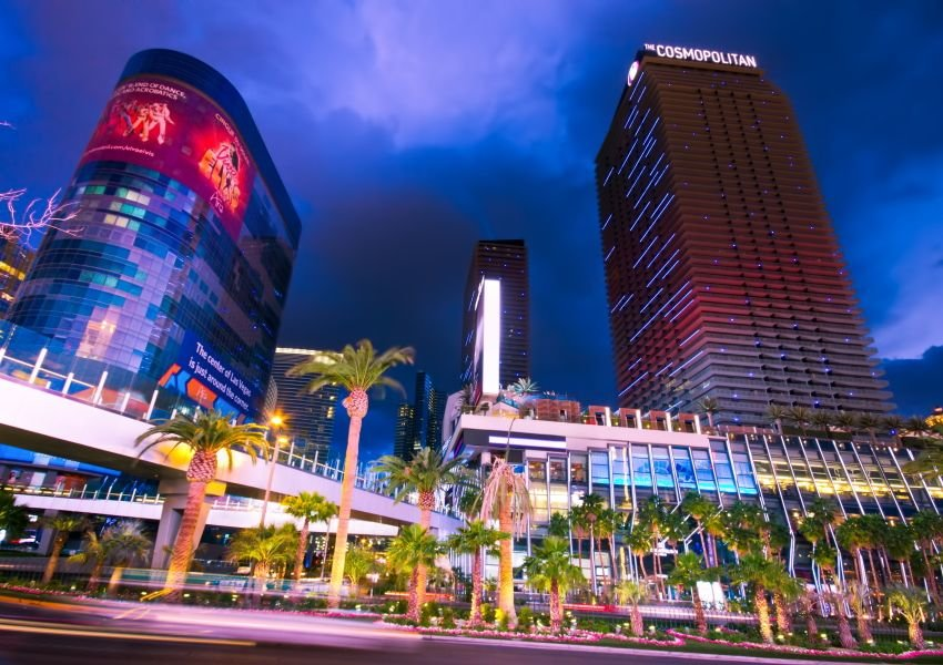Photo of brightly lit hotels on the Las Vegas Strip