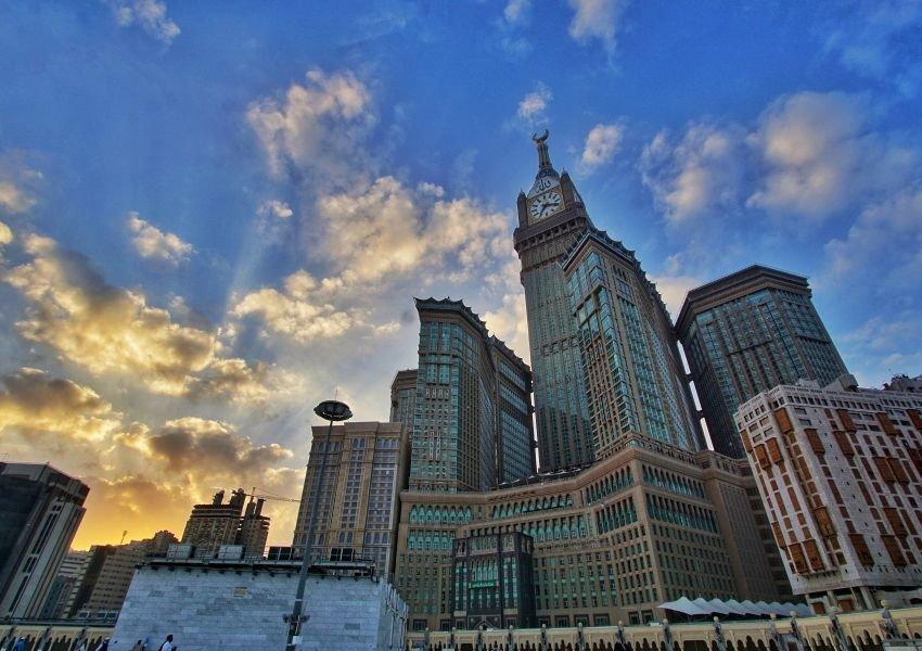 Abraj Al Bait Towers at sunset