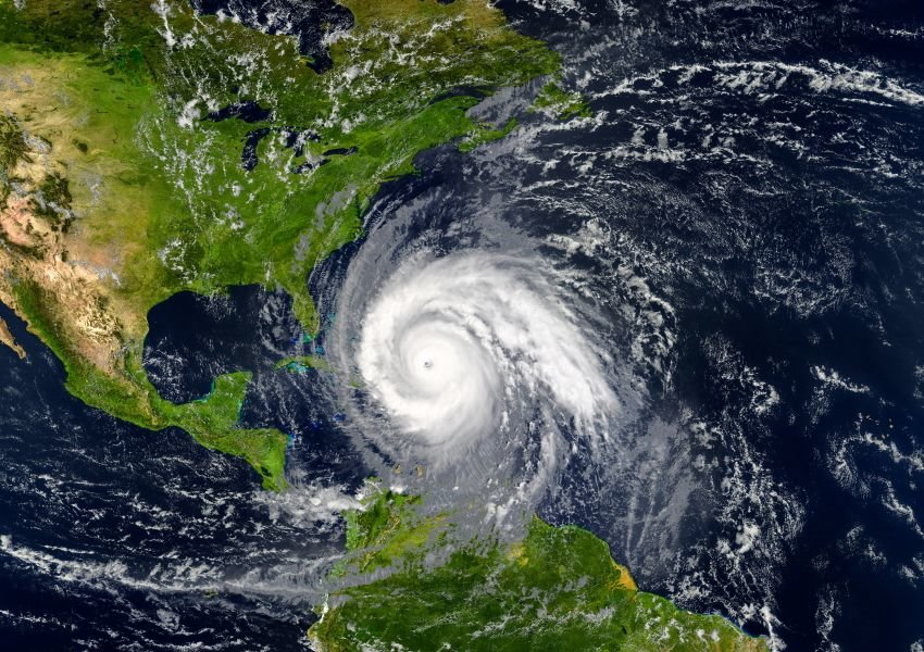 Aerial photo of a hurricane approaching Florida