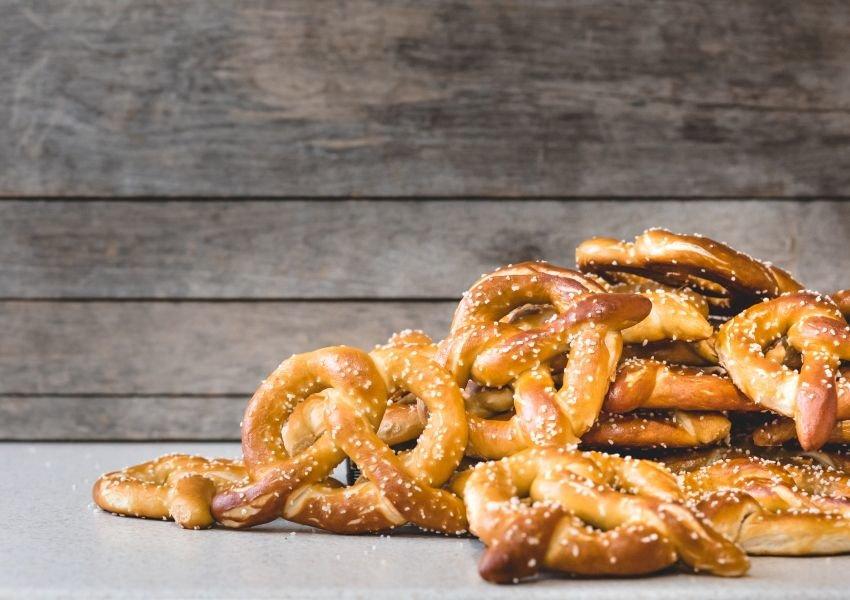 Photo of a pile of soft pretzels