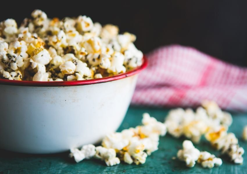 Close up photo of a bowl of popcorn