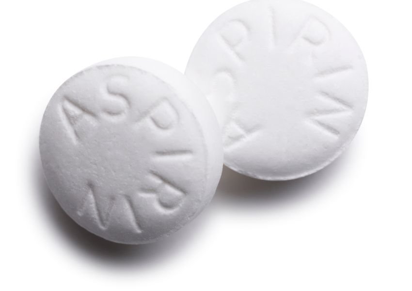 Photo of aspirin on white background