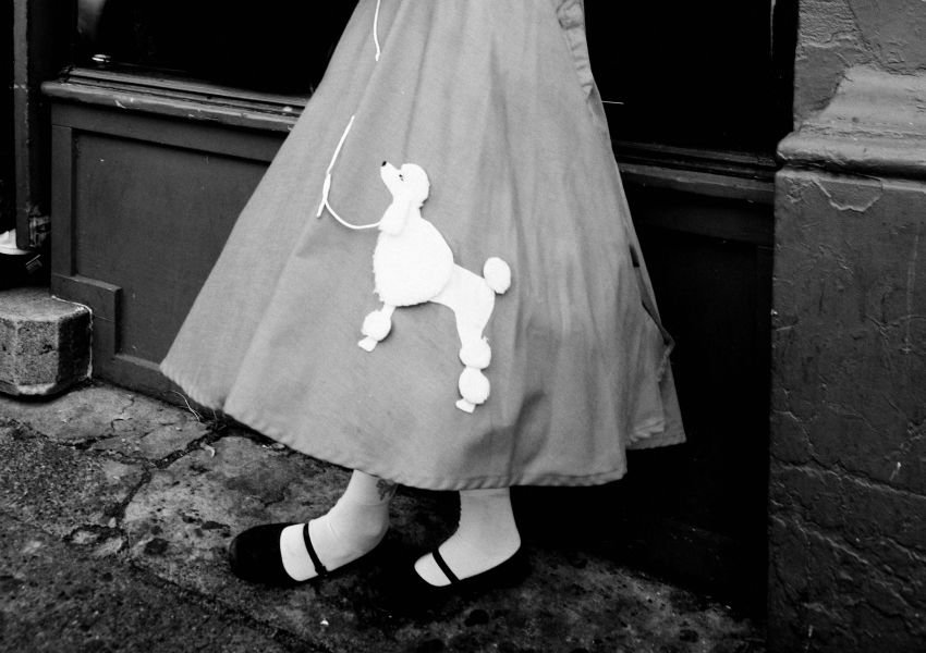Black and white photo of a poodle skirt