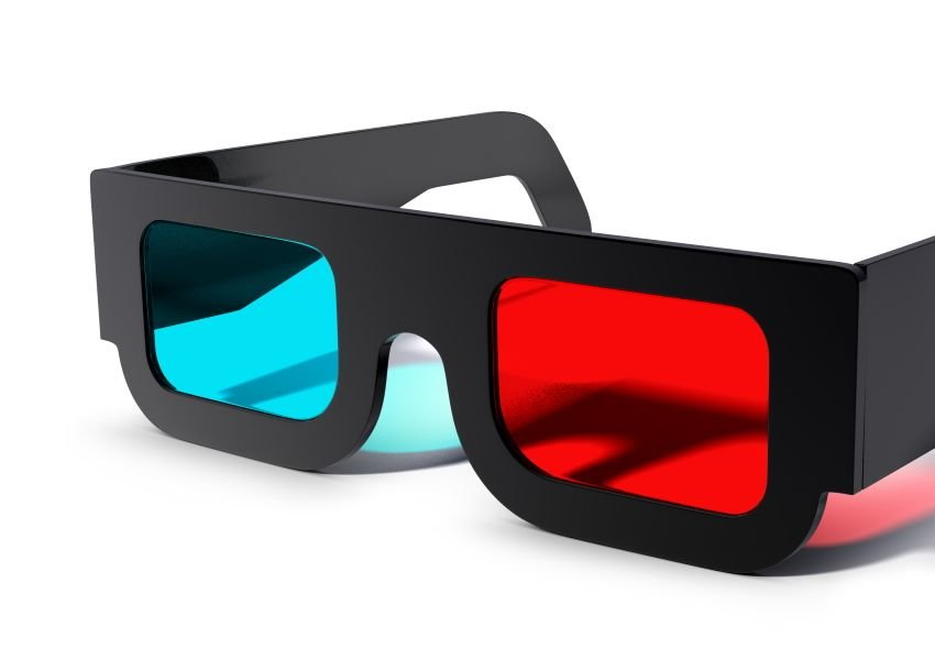 Photo 3-D glasses with red and blue lenses