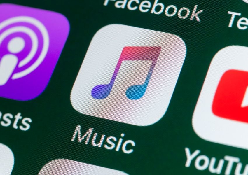 Close-up photo of the Music app button on an iPhone screen