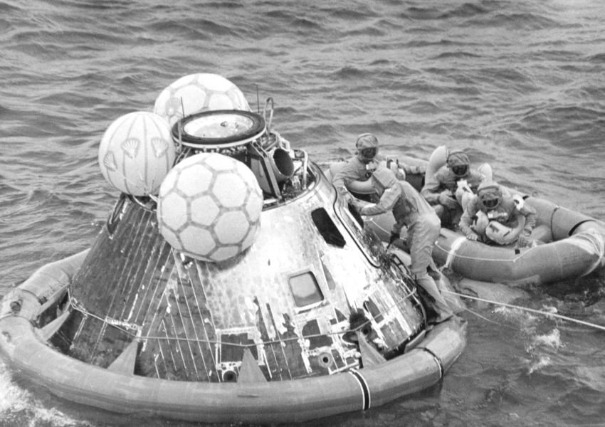 Vintage black and white photo of a spacecraft in water