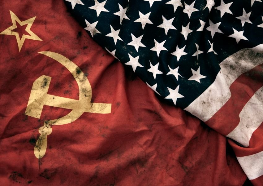 Photo of a Soviet flag and American flag next to each other