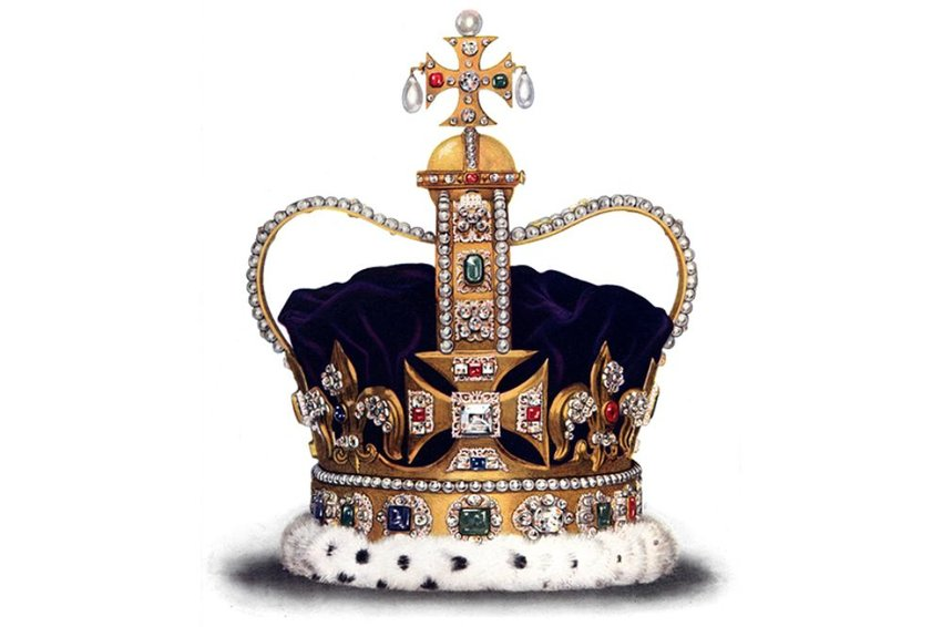 Photo of St Edward's Crown on white background