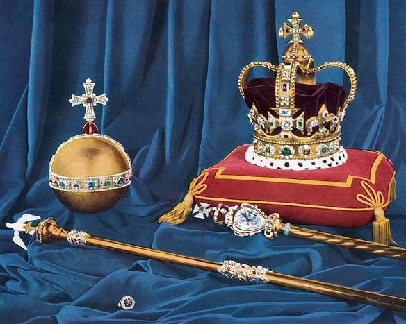 St Edward's Crown, the Crown of England, the gold Orb, the Sceptre with the Cross, Sceptre with the Dove, and the Ring
