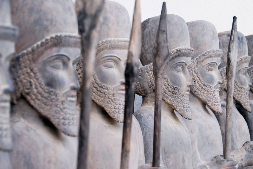 Statues of Persian warriors in line