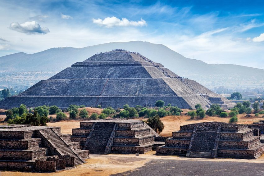 Panorama of Teotihuacan Pyramids with mountains in the background