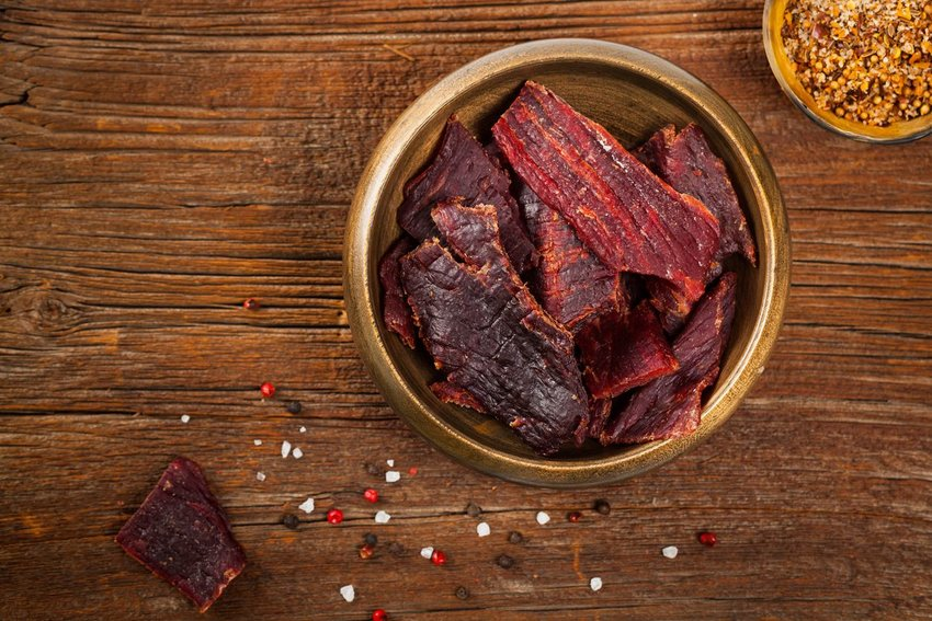 Photo of a bowl of beef jerky