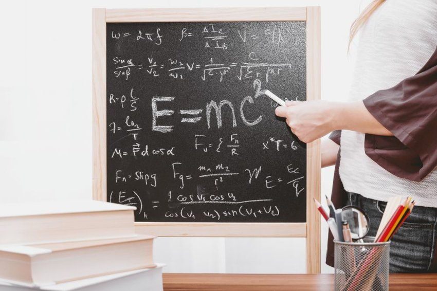 Blackboard with equations on it