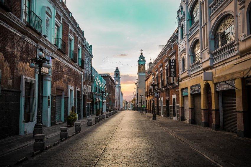 Photo of Colonial-style cobblestone street in Puebla, Mexico