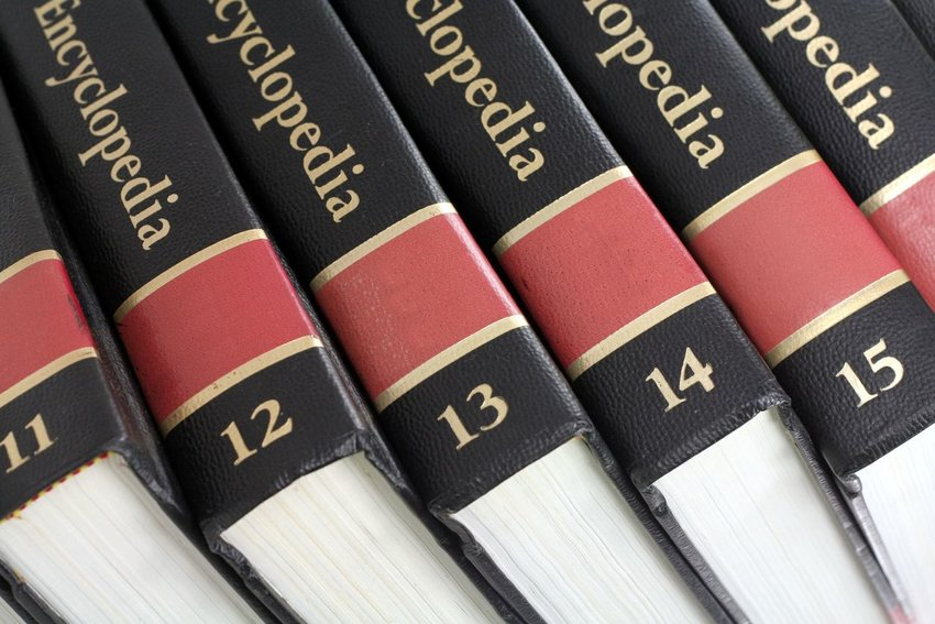 Photo of the spines of encyclopedia volumes