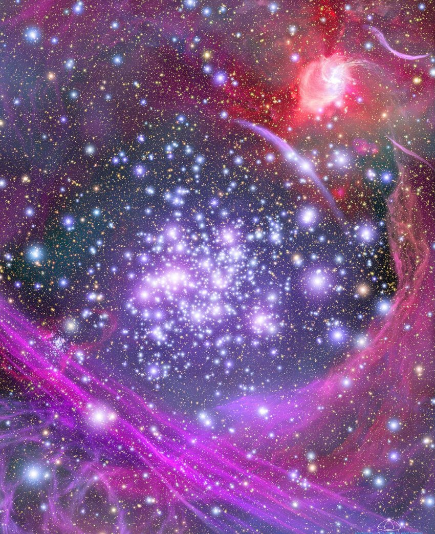 Photo of bright stars in deep purple space