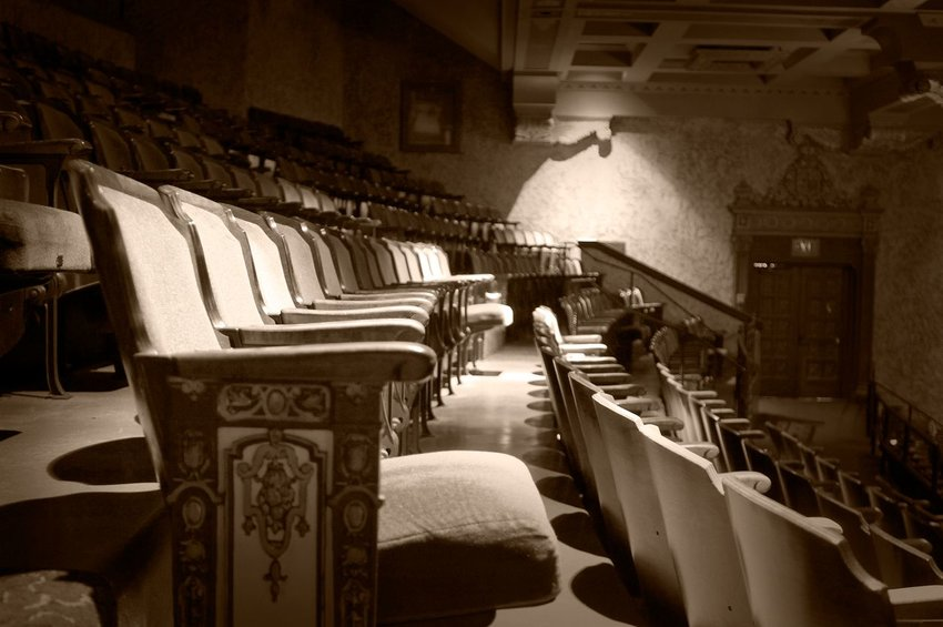 Black and white of an old theater