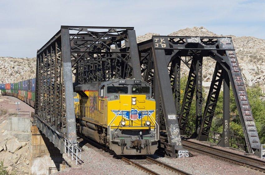 Photo of a train crossing a bridge
