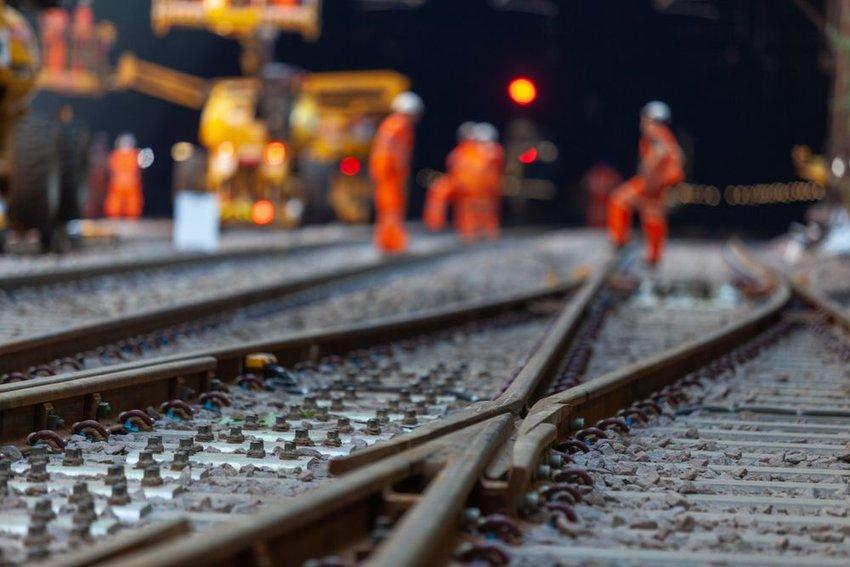 Close-up photo of train tracks