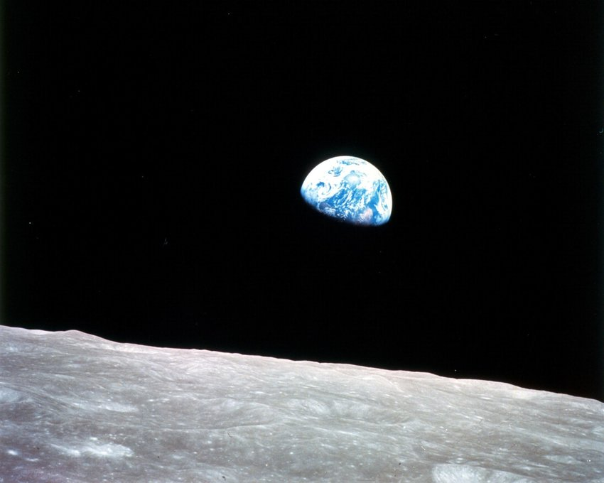 Photo of Earth from the surface of the moon