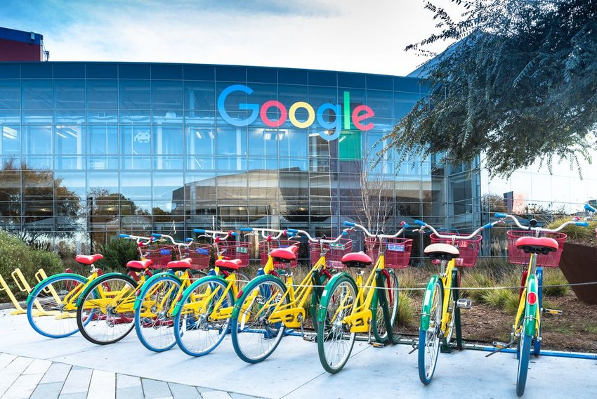 Photo of colorful bicycles outside the Google office