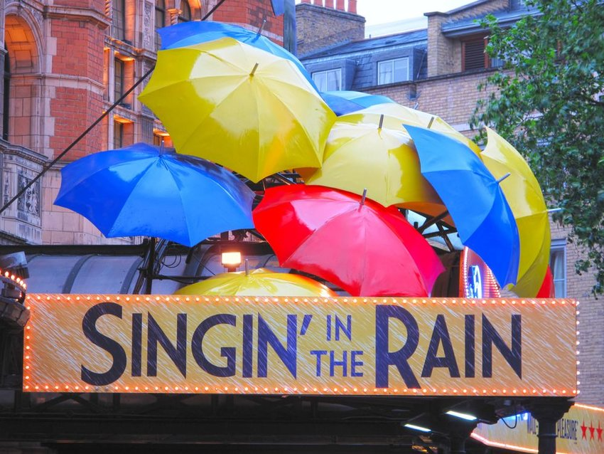 Photo of the Singin in the Rain marquee with decorative umbrellas