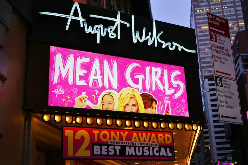 Photo of the Mean Girls marquee on Broadway