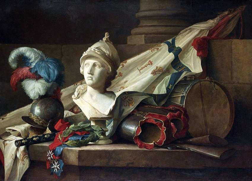 Photo of a still-life painting depicting old armer and a bust by Anne Vallayer-Coster