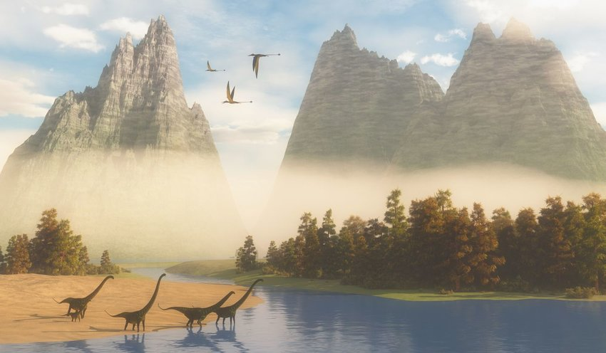 Illustration of dinosaurs during the Mesozoic Era