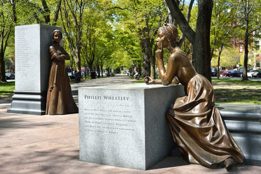 View of the Boston Women's Memorial with statues of Abigail Adams and Phillis Wheatley, Boston, Massachusetts