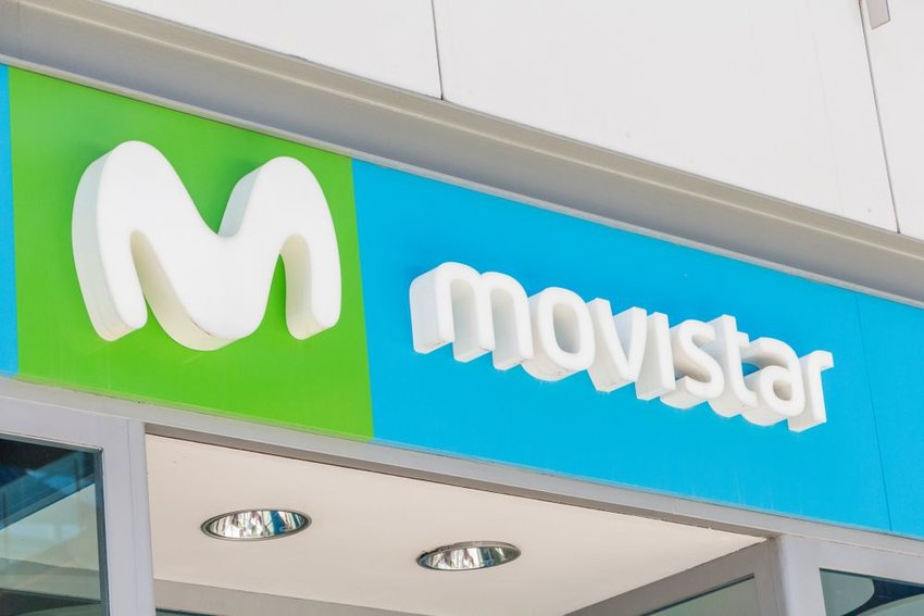 Movistar sign and logo at retail store location in Madrid, Spain