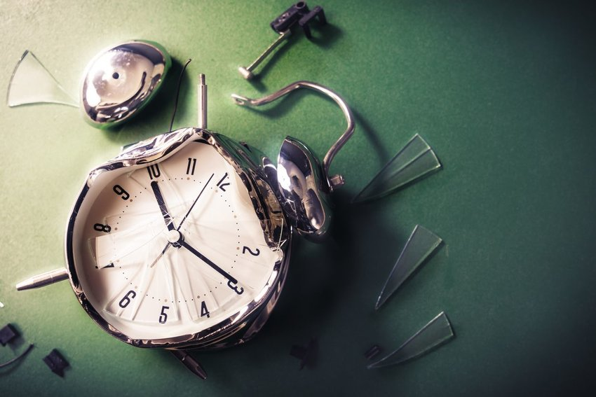 Photo of a shattered alarm clock