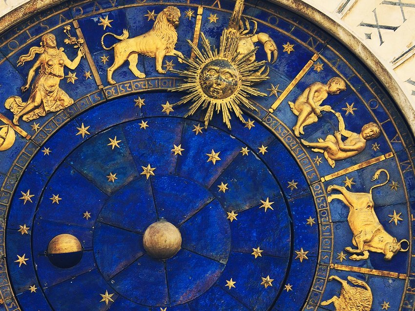 Ancient Venetian clock showing the zodiac and phases of the moon