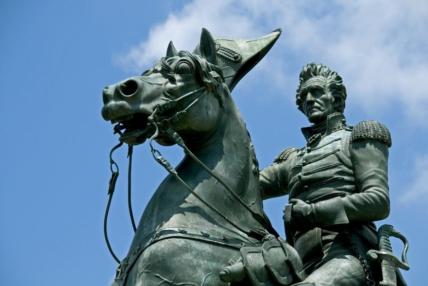 Statue of Andrew Jackson on horse in Lafayette Square, Washington DC