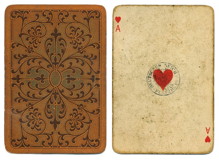 Front and back view of an antique playing card design, circa 1900